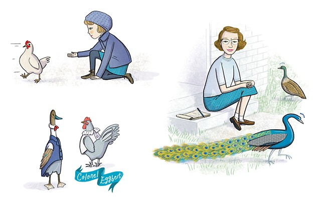 Flannery O'Connor, O'Connor's birds, Violet Lemay, Artists and Their Pets, kidlit artist, middlegrade artist, children's book illustrator, picture book illustrator