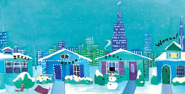 Chicago bungalows, Chicago Christmas, Chicago holiday, Chicago snow, Chicago skyline, city illustration, city art