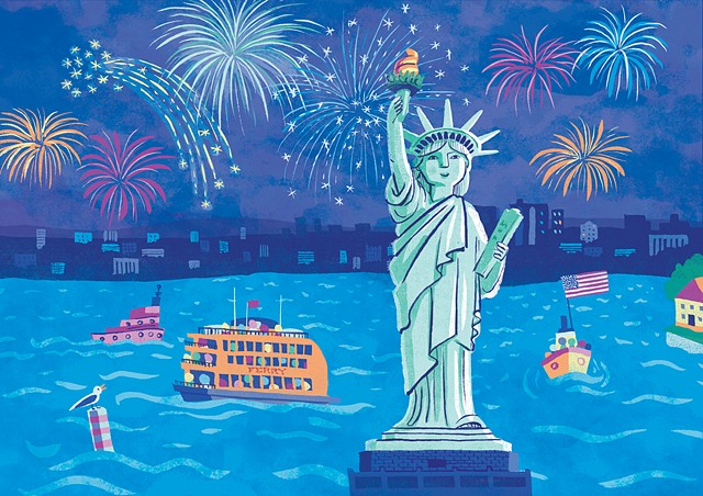 Statue of Liberty, Lady Liberty, NYC, fireworks, children's art, urban art