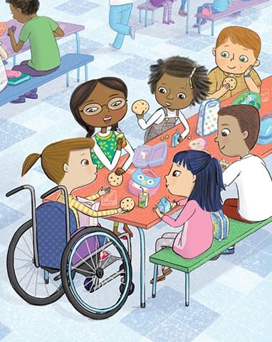 Violet Lemay, children's book illustration, book about wheelchair, diverse book, children's book illustrator, picture book artist