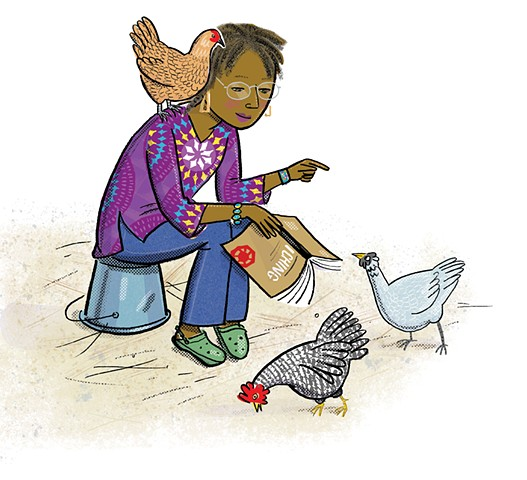 Alice Walker, chickens, Walker's chickens, Violet Lemay, illustration, middle grade biography, Writers and Their Pets