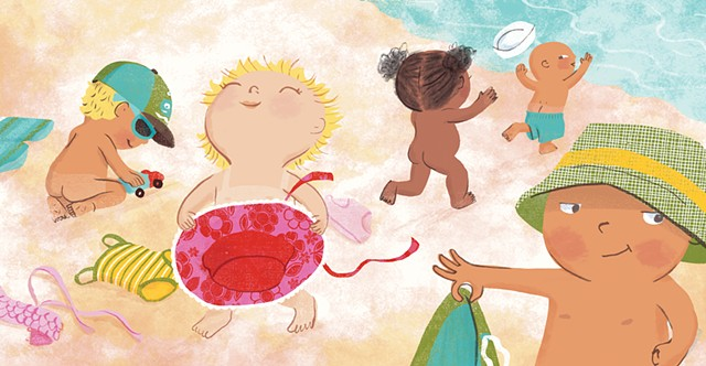 Violet Lemay, children's book illustrator, beach babies, kidlitartist, adorable illustration, naked babies at beach