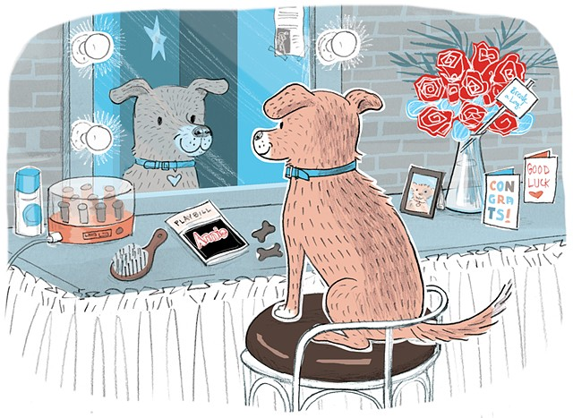 NY Dogs, Violet Lemay, illustration, dogs on Broadway, Sandy, Annie, backstage dog, dog star, dog actor, city dog, urban dog, metro dog, funny dog book, gift for dog lover