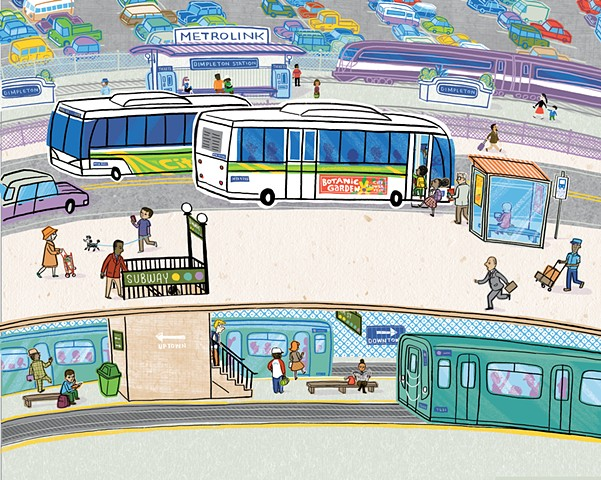 Violet Lemay, How a City Works, children's book illustration, city illustration, city art, city book for kids, illustration, city, mass transit
