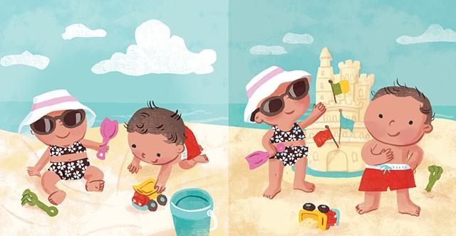 Violet Lemay, children's book illustrator, beach babies, kidlitartist, adorable illustration, sand castle