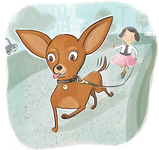 chihuahua, children's book illustration, Violet Lemay, dog, little girl, neighborhood