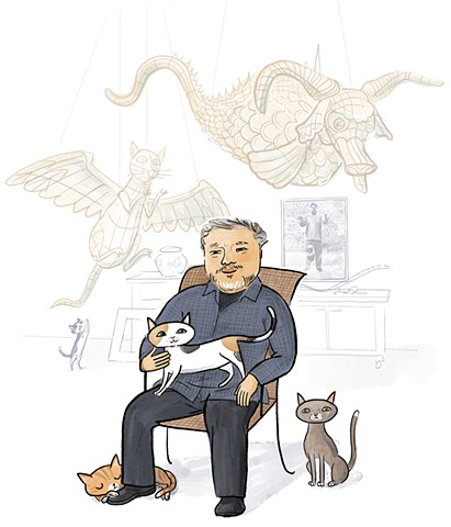 Ai Weiwei, Weiwei, cats, contemporary artist, Violet Lemay, kidlit artist, ya biography, illustration
