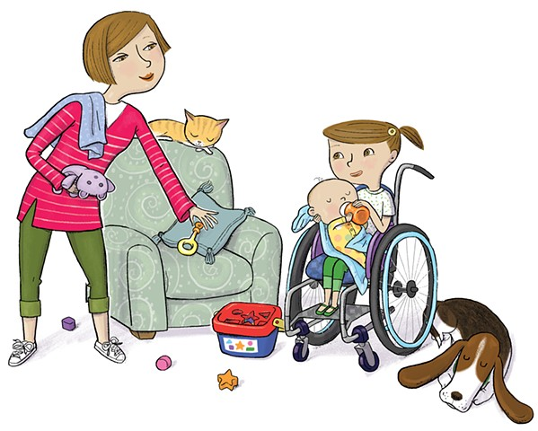 Violet Lemay, Yes I Can, wheelchair, Magination Press, spina bifida, disablilty, strong kids, strong girl, illustration, kidlit, basset hound, cat, cute baby