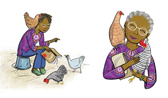 Alice Walker, Walker and her chickens, Violet Lemay, Artists and Their Pets, kidlit artist, middlegrade artist, children's book illustrator, picture book illustrator