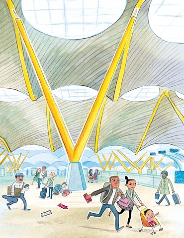 travel, international airport, baby, children's book illustration, Violet Lemay