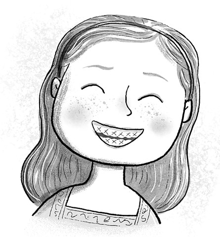 Violet Lemay, children's book illustrator, middle grade illustrator, black and white illustration, braces, middle school, smile, joy