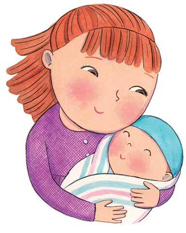 Bella's New Baby, children's book, children's book illustrator, Violet Lemay, baby illustration, Little Golden Book