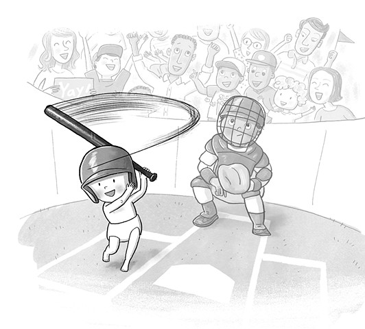 Violet Lemay, children's book illustrator, middle grade illustrator, black and white illustration, baseball