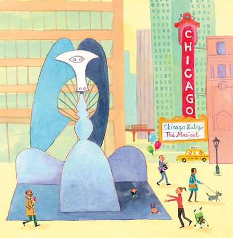 Picasso sculpture, Chicago, city illustration, city art, watercolor