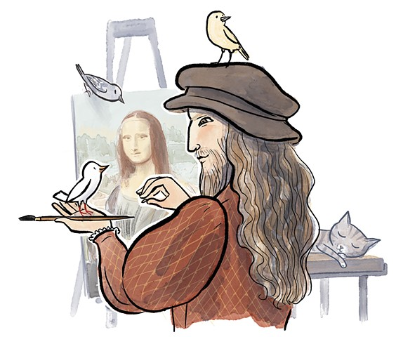 Leonardo da Vinci, Violet Lemay, children's book illustrator, middle grade illustrator, middle grade biography, kidlit artist