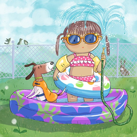 Violet Lemay, children's book illustrator, wading pool, summer fun, cute little girl, adorable