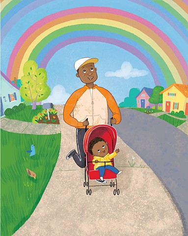 Violet Lemay, children's book illustrator, rainbow, African-American dad, African-American baby