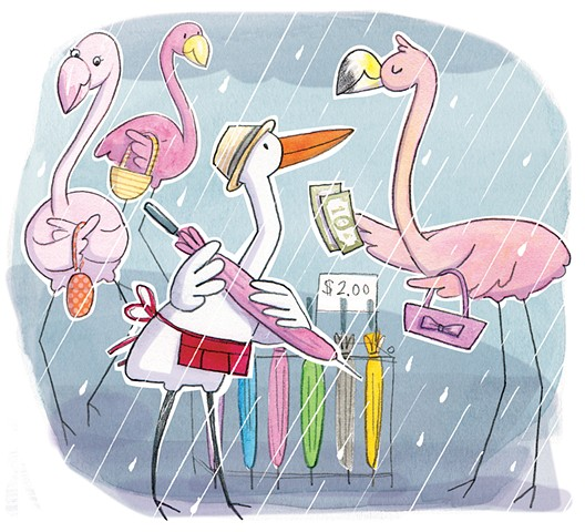 Doña Rosa, flamingo, egret, Florida, Highlights High Five, kid lit, children's book illustration, umbrellas