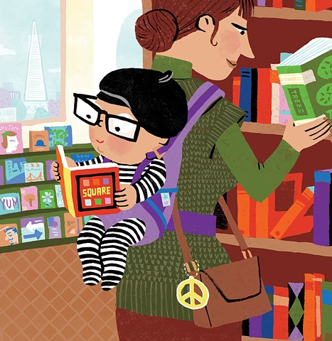 San Francisco bookstore, hip baby, bookstore, hip mom, bookstore illustration, San Francisco cityscape, children's book illustration