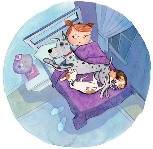 dogs, big dog, dogs in bed, sleeping dogs, dog illustration, girl, girl's room, girl with dog, watercolor