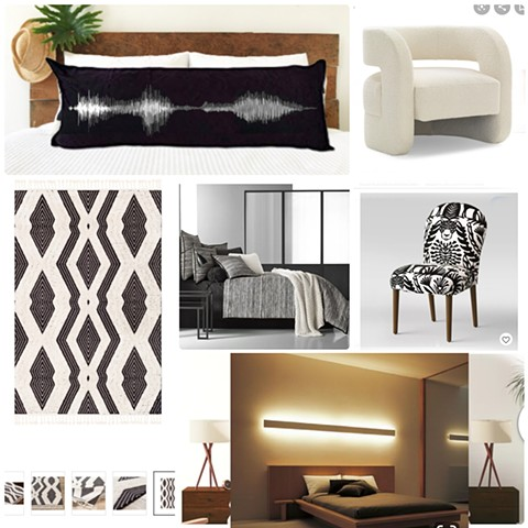 Bedroom Mood Board (follow up to a consultation with links to products provided)