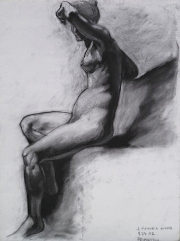 Sacred Bather Nude Study (detail of original sketch, NFS, giclee print available for purchase)