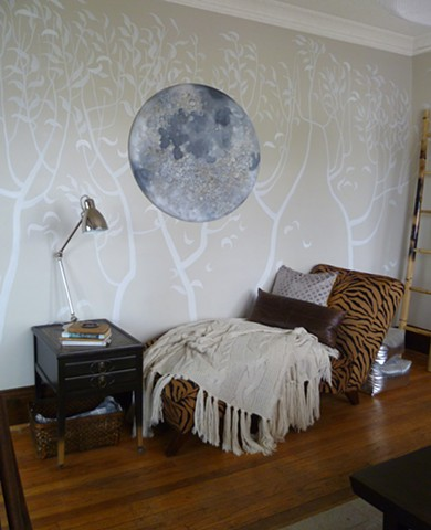 Lunatic Moon Painting  (shown with trees mural, thrifted chaise, wooden bamboo ladder & chunky knit throw)