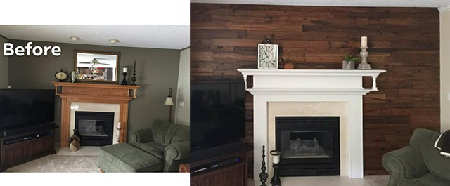 Reclaimed accent veneer wall and enameled fireplace...