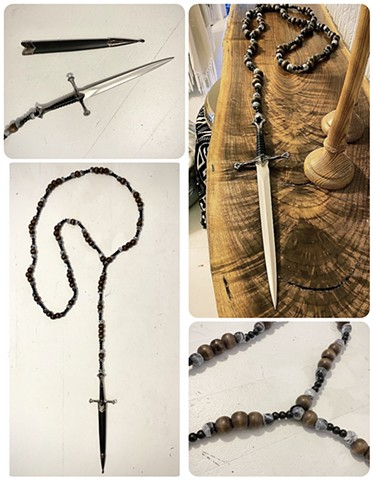 Marbled & Wood Dagger Rosary