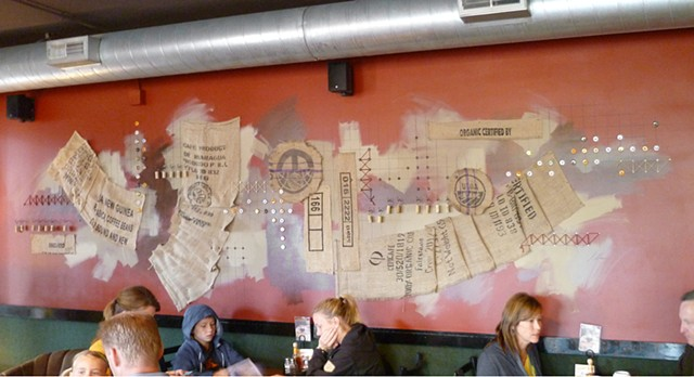 Jo-Jo's Rise 'n Wine collage mural