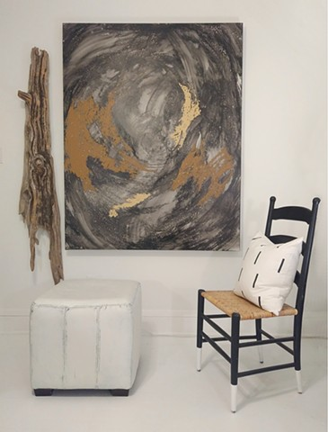 Mended & Adorned (shown with painted leather ottoman, vintage upcycled chair, mudcloth pillow and driftwood sculpture)