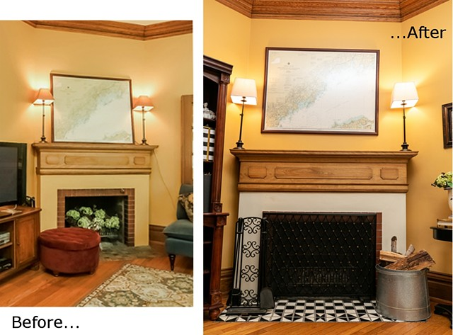 MacKenzie Fireplace: Repainted plaster surround and repainted hearth