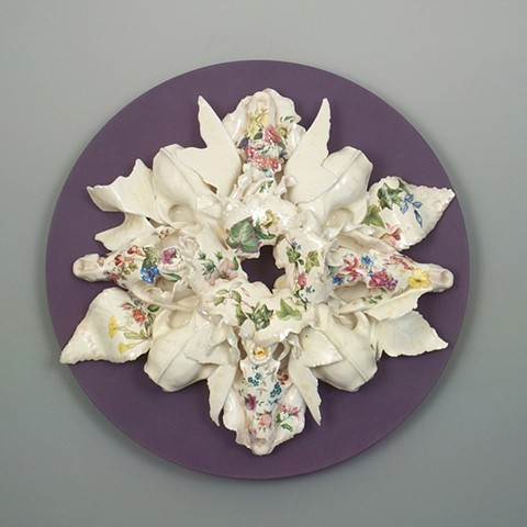 Parian, glazed and decaled sculpture with an MDF backdrop