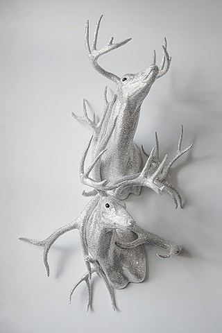 Untitled (double bucks with antlers)