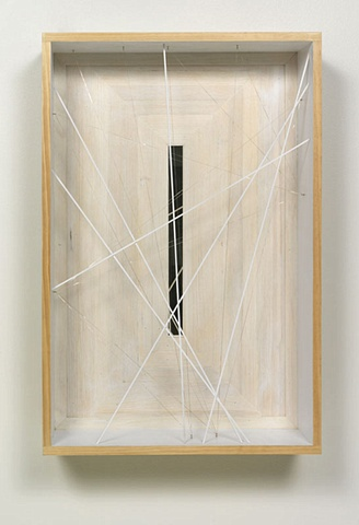 White box glass mirror string wood by Marc Swanson The Tenth of Always Richard Gray Gallery Chicago