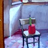 red pot and green bottle