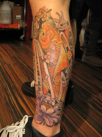 koi with lotus