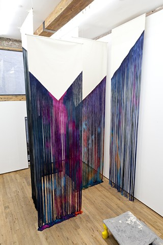 Dodge Gallery Hang Up| 6 x unraveled and dyed canvas, stainless steel rod| 240 x 60 inches each, installation variable, front view| Photo Credit: Carly Gaebe