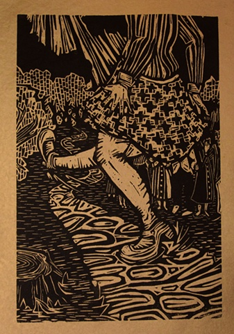 "woodblock print illustration based on ""The Red Shoes,"" a story in the book ""Women Who Run with the Wolves"" by Clarissa Pinkola Estes, Ph.D."