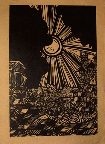 "woodblock print illustration based on ""Manawee,"" a story in the book ""Women Who Run with the Wolves"" by Clarissa Pinkola Estes, Ph.D."