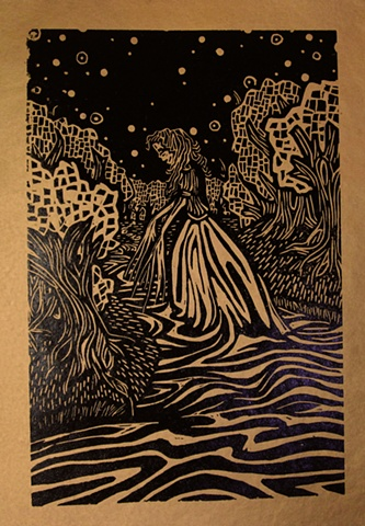 "woodblock print illustration based on ""La Llorena,"" a story in the book ""Women Who Run with the Wolves"" by Clarissa Pinkola Estes, Ph.D."