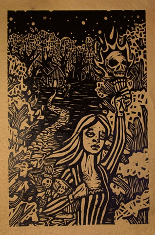 "woodblock print illustration based on ""Vasalisa the Wise,"" or ""The Story of Baba Yaga,"" a story in the book ""Women Who Run with the Wolves"" by Clarissa Pinkola Estes, Ph.D."