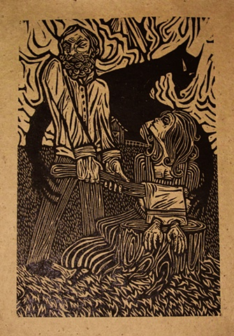 "woodblock print illustration based on ""The Handless Maiden,"" a story in the book ""Women Who Run with the Wolves"" by Clarissa Pinkola Estes, Ph.D."