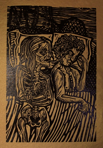 "woodblock print illustration based on ""Skeleton Woman,"" a story in the book ""Women Who Run with the Wolves"" by Clarissa Pinkola Estes, Ph.D."