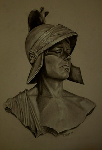 bust study, charcoal on tinted paper