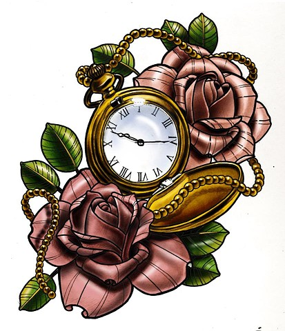 clock and roses design