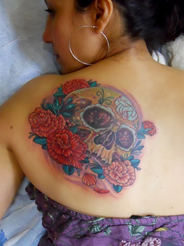 Sugar Skull and Carnations Tattoo