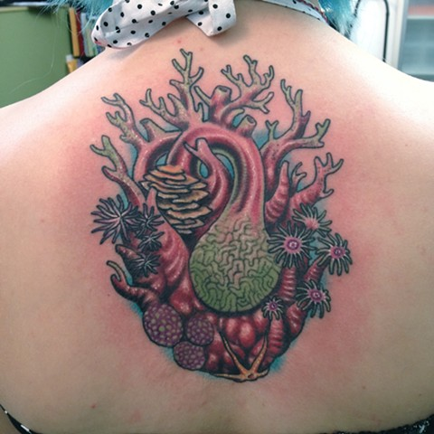 Heart Coral Morph Tattoo