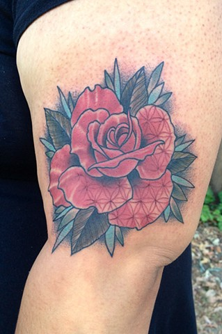 Flower of Life Traditional Rose Tattoo