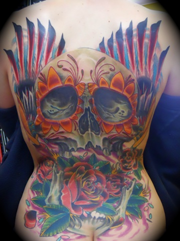 Sugar Skull, Roses and Wings Backpiece